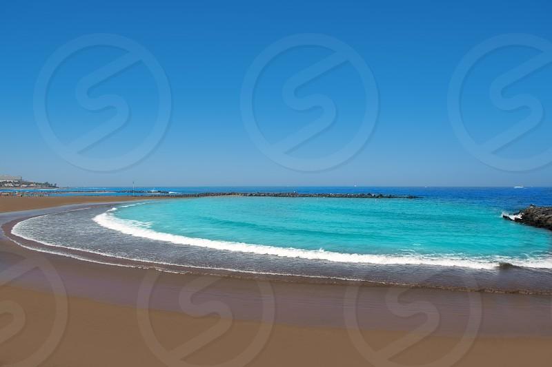 Adeje coast Las americas Beach in south Tenerife at Canary Islands photo