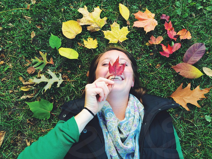 Fall happy leaves smile green nature.  photo