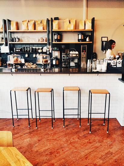 black steel padded stool photo