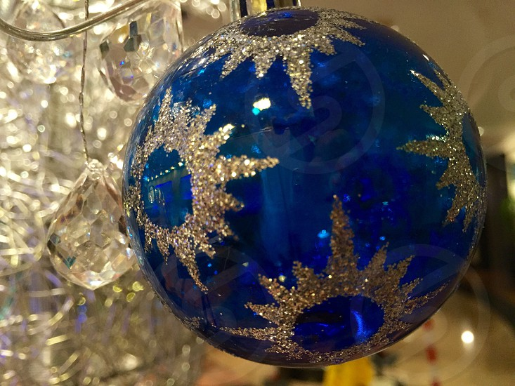 blue with gold glittered glass ball photo
