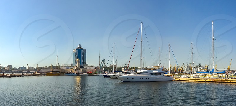 Odessa Ukraine - 09.19.2018. Panoramic view of Yacht parking and seaport of Odessa Ukraine in a summer sunny day photo