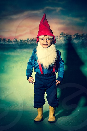 halloween costume gnome garden hat red beard boy child boots yellow suspenders cute dress up eyebrows pants jacket trick treat blue kid fun season fall october holiday happy smile photo