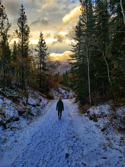 winter hike mountains wilderness peaceful happy photo