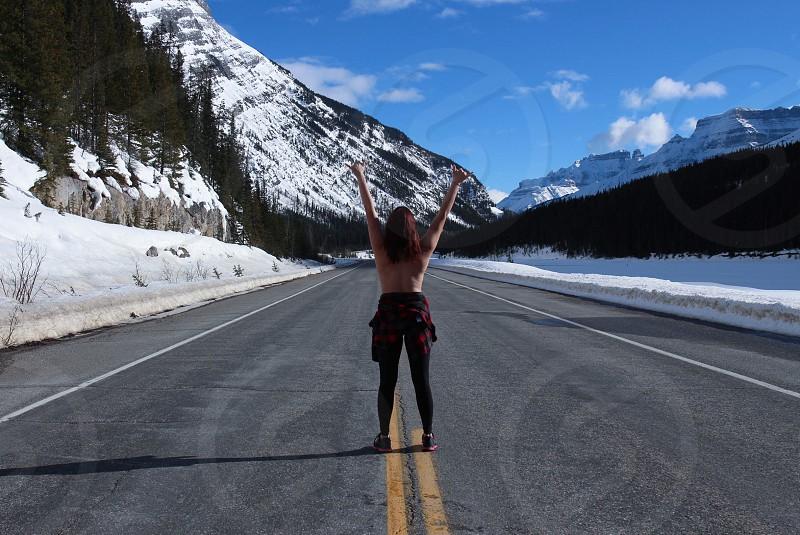 Run fit fitness jasper canada travel wandering wander explore mountain mountains  photo
