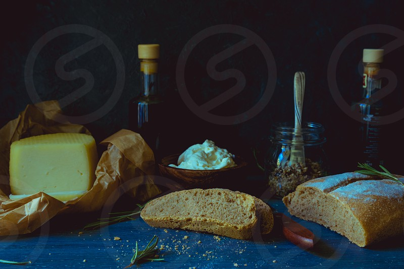 Still life with bread and cheese photo
