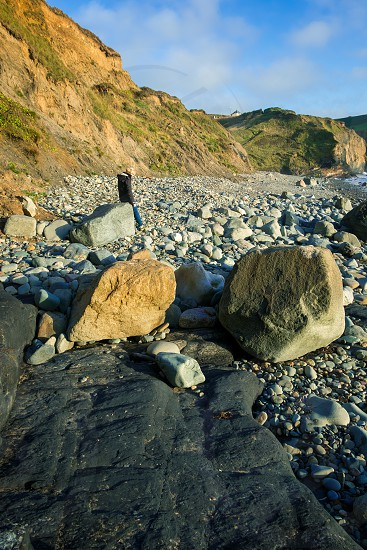 View of the beach at Druidston Haven in Pembrokeshire photo