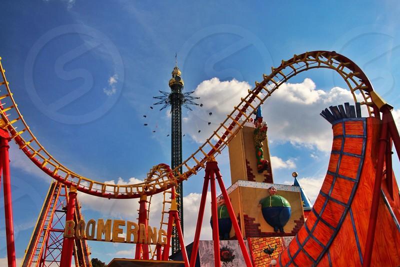 Carnival fair amusement ride roller coaster fun  photo
