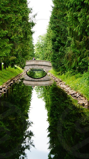 small walking bridge in a park photo