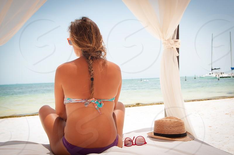 summer island beach ocean blue girl  photo