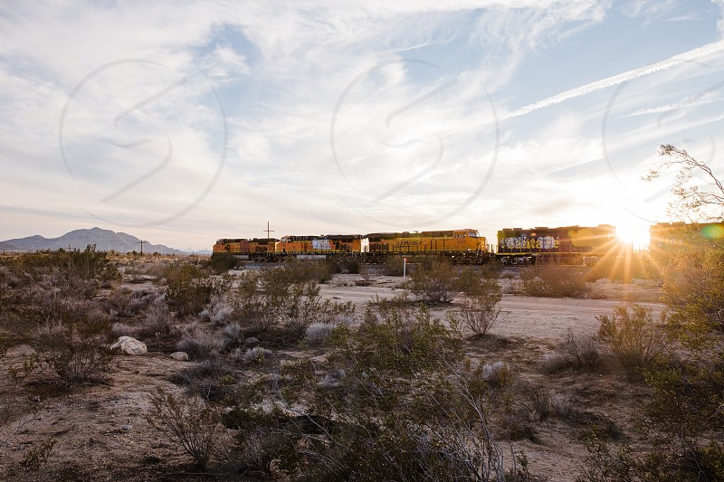 Freight train transports goods through the California desert photo
