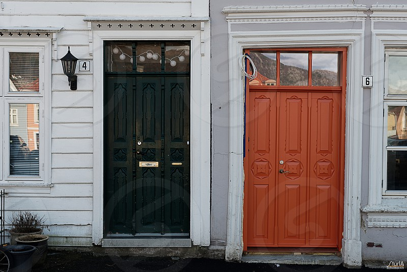 Neighbouring doors at Nordnes. Bergen Norway photo
