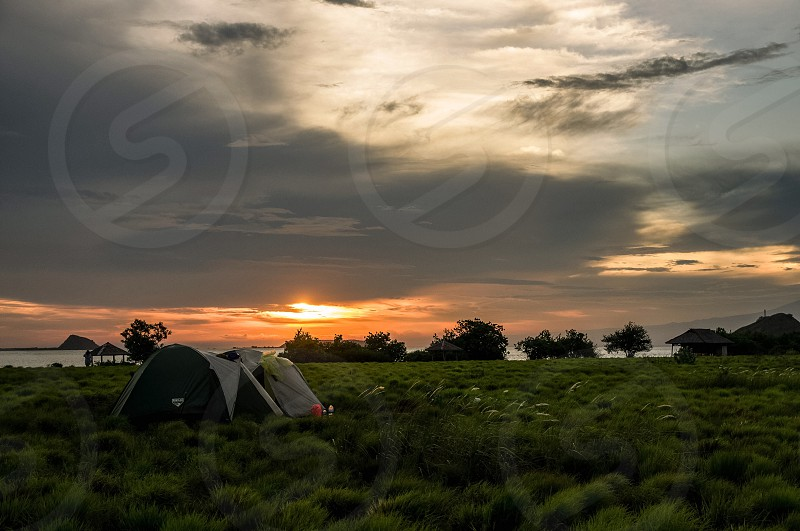 Abandonedisland island camp sunset photo