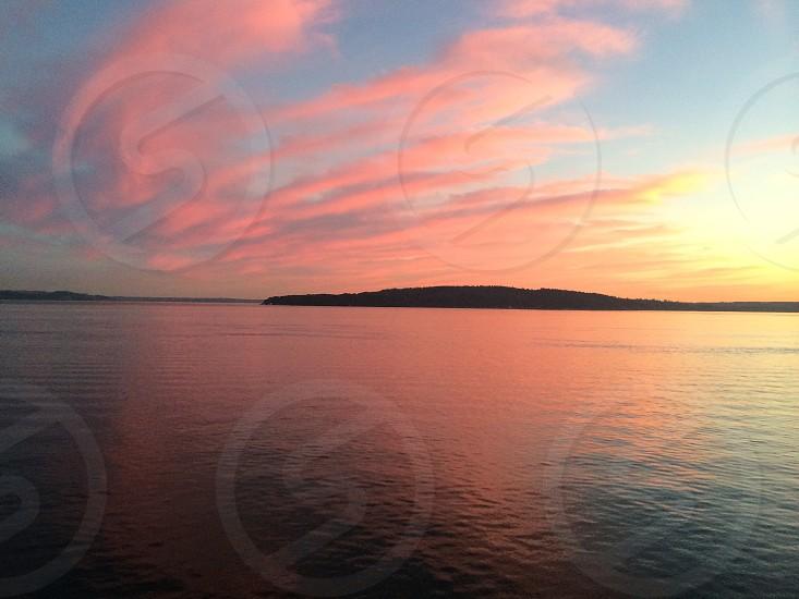 Puget sound sunset sky painting photo