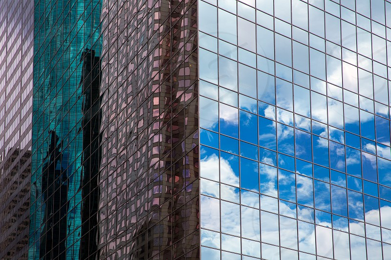 Houston Texas urban city with modern mirror skyscapers crop detail photo