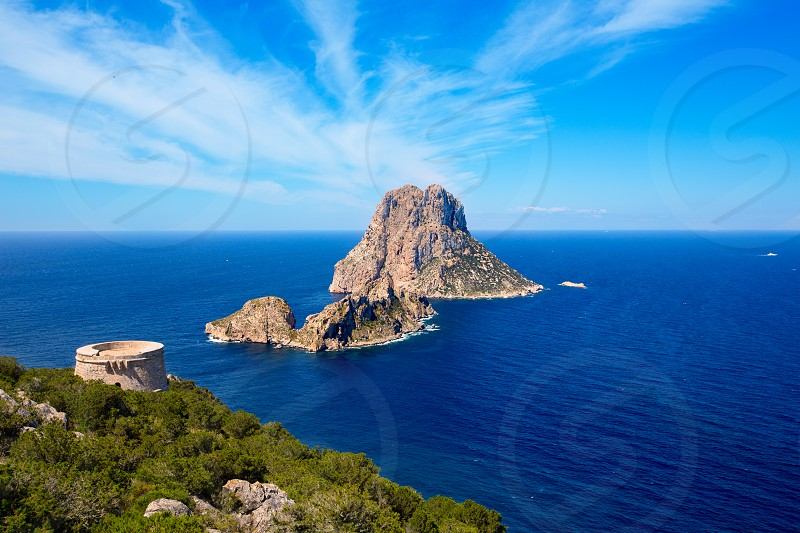 Ibiza Es Vedra view from Torre des Savinar Tower San Jose in Balearic Islands photo