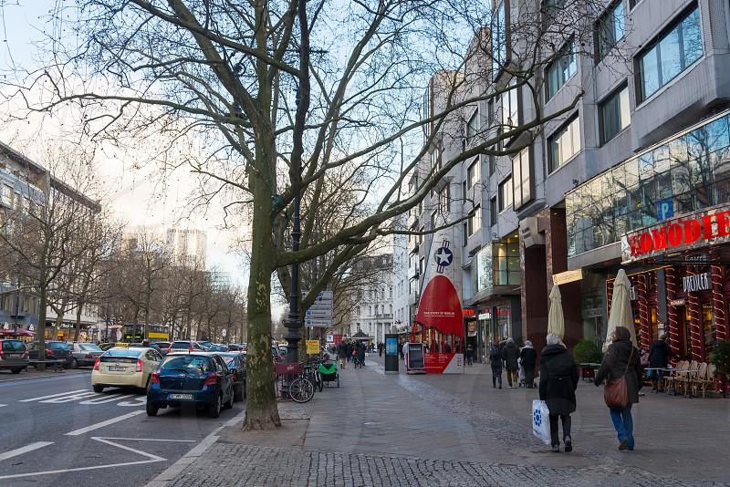 Scene around Bleibtreustraße and Kurfürstendamminside which are walking and coffee shop inside Charlottenburg Neighborhood in Berlin Germany photo