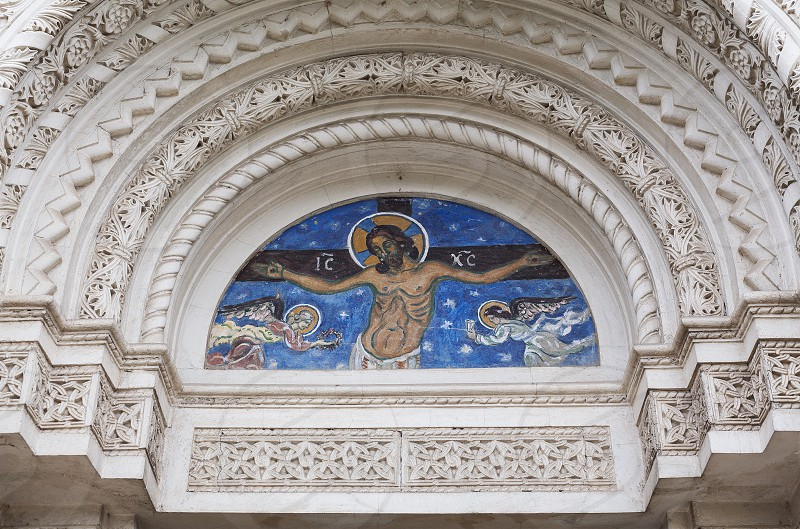 Entrance of an orthodox church in Serbia closeup view on style and decor. photo