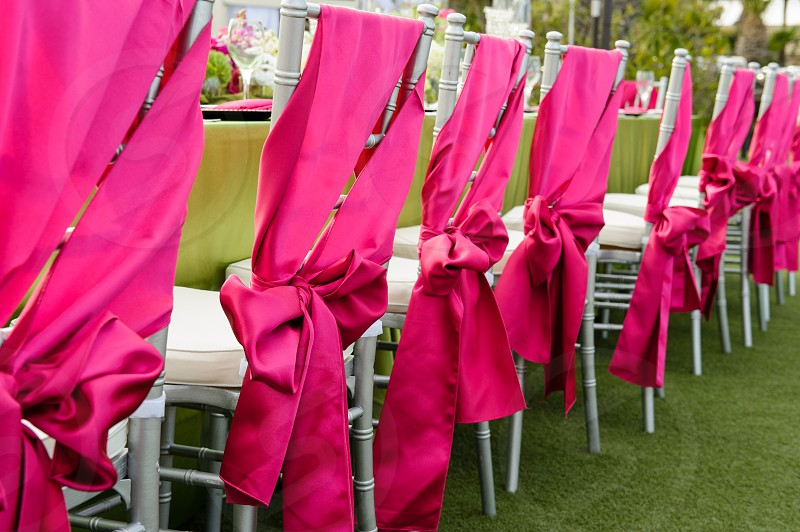 Wrapped chairs at table photo