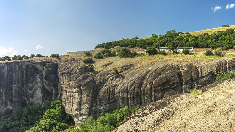 Panoramic view of the road to Varlaam Monastery in Meteora in Greece photo