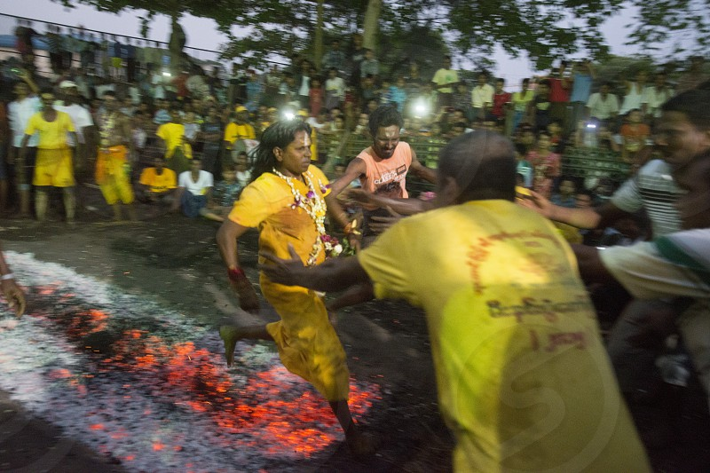 a indian style Fire Walk festival in the City of Yangon in Myanmar in Southeastasia. photo