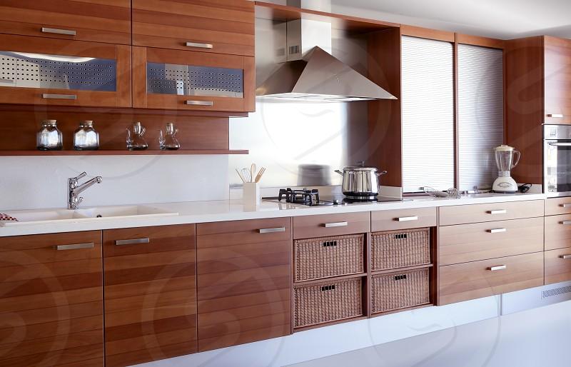 red wood kitchen white kitchen bench modern interior decoration photo