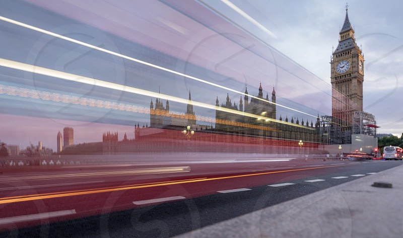 London themse bridge light stream parliament big ben city photo