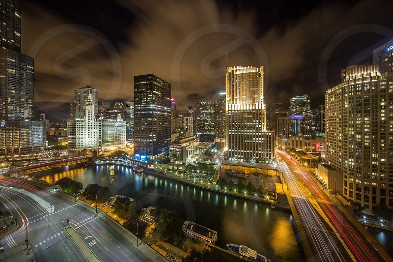 Chicago River and bridges at night photo