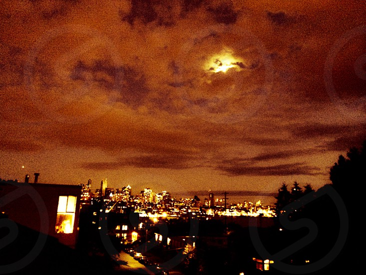 Super moon over Seattle  photo
