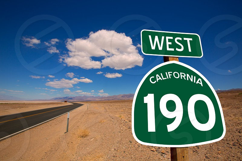 Desert Route 190 highway in Death Valley California road sign illustration photo