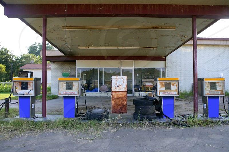 Aged old vintage gas station abandoned in Texas  photo