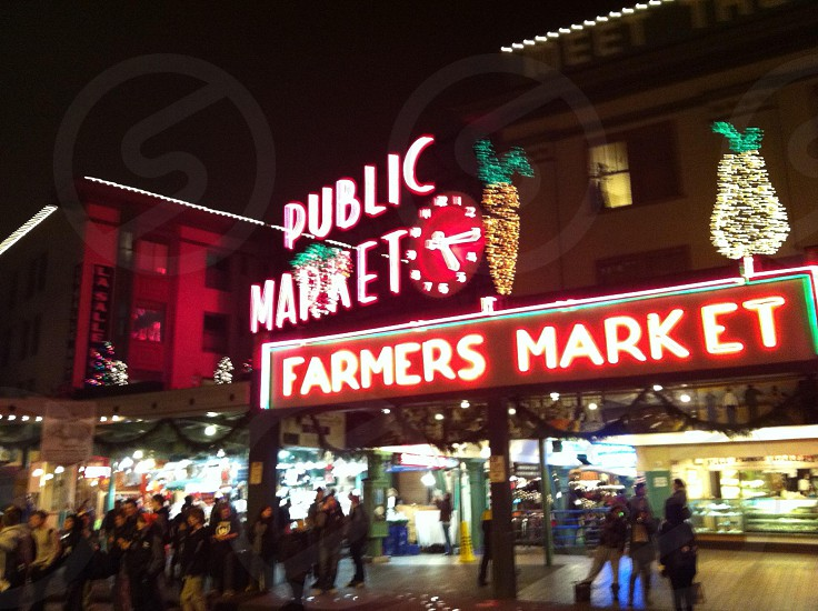 Pike Place Market on a quiet Christmas night  photo