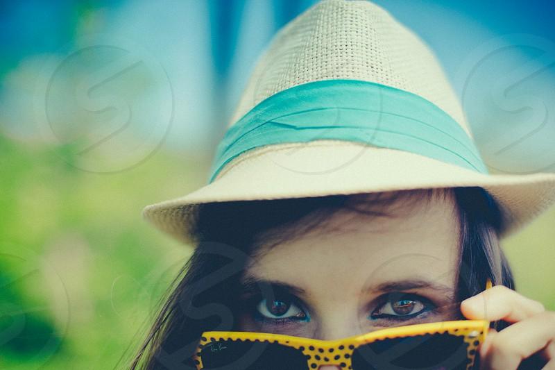sunglasses rayban wayfarer girl look smile photo