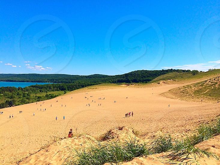 Sand dunes dunes sand summer sleeping bear dunes national park forest beach hill hills  photo