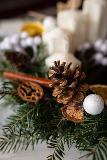 Decoration for Christmas table photo