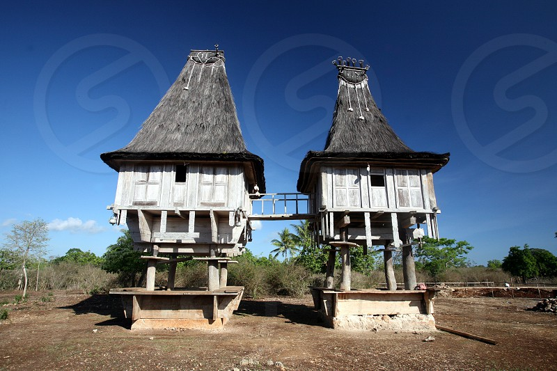 a traditional house at the village of Lospalos in the east of East Timor in southeastasia. photo