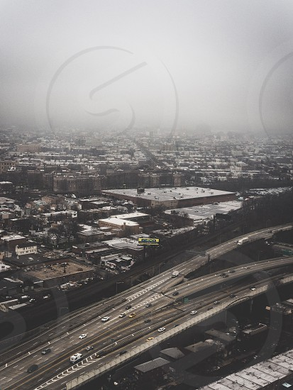An overcast day as viewed from above Queens NY photo