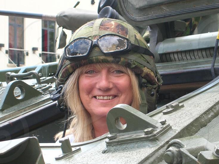 Tank helmet goggles glasses female green army photo