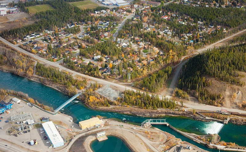 Aerial view of the small scale Yukon River hydro dam station at Whitehorse Yukon Territory Canada photo