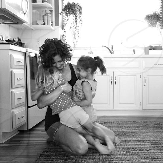 Family mother kids hug love happy photo