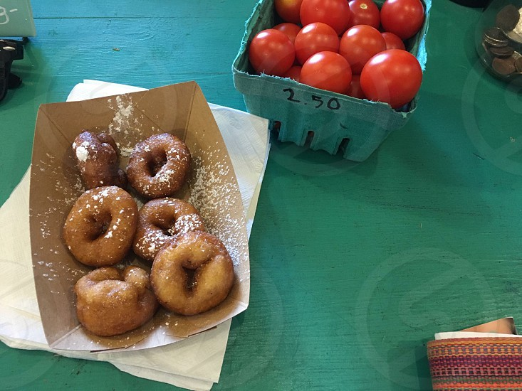 Donuts first then tomatoes  photo