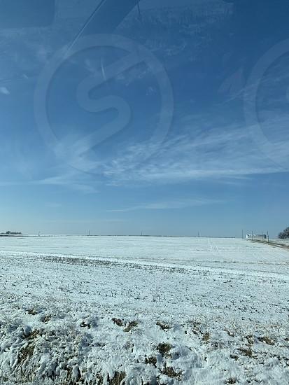 Snow field December Missouri  photo