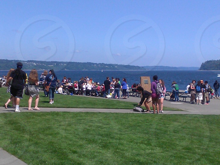 School picnic...this is their view every day. Beautiful water of south puget sound photo