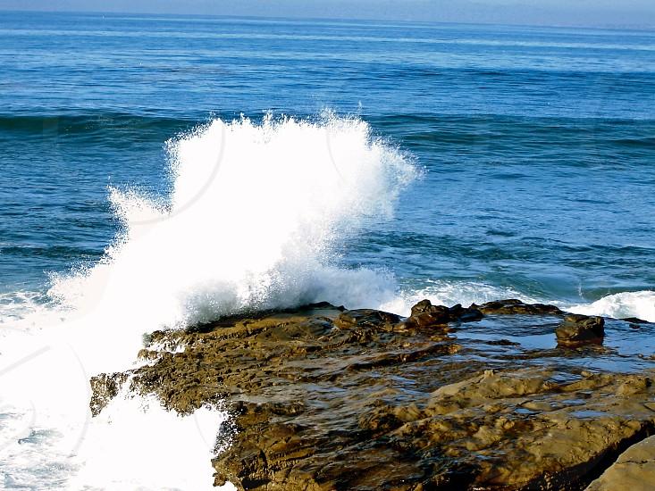 Crashing waves on the San Diego coastline. photo