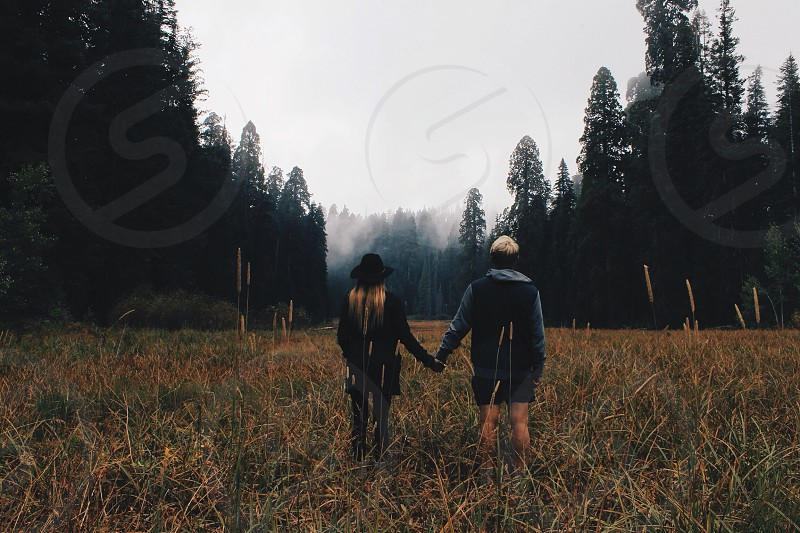 couple holding hands on green grass field photo