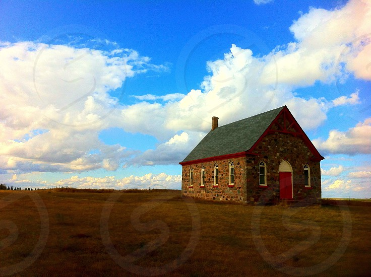 Prairie Church near Vibank Saskatchewan Canada. photo