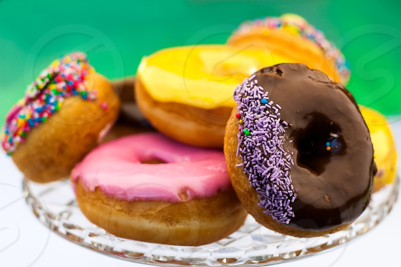 Donuts on the crystal plate photo