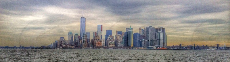 cityscape acroos ocean  photo