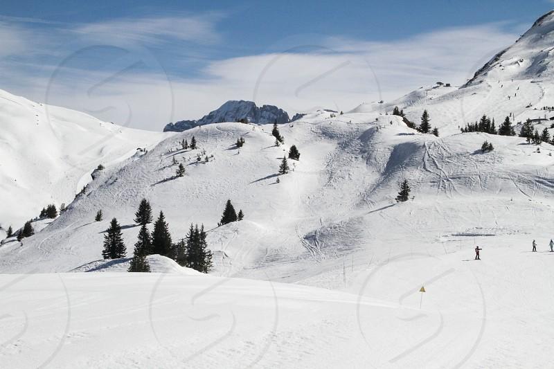 Mountain snow ski people trees pist avoriaz snowboard photo