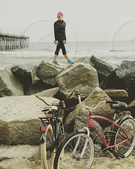 Its a Great Day for a Bike Ride  bikes bicycle  beach  sand rocks seaside  coastal coastal town coastal life coastal living photo