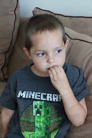 Thinking boy photo
